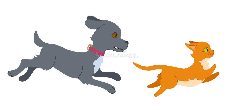 Hund som jagar en katt royaltyfri illustrationer
