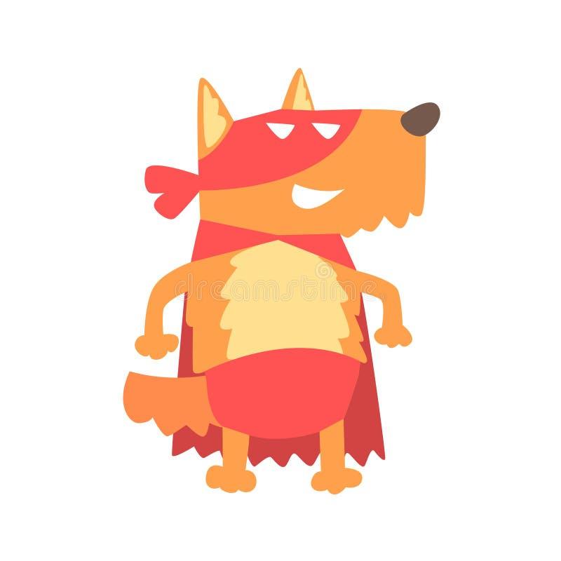 Hund som ler djuret som kläs som Superhero med tecken för vigilante för udde ett komiker maskerat geometriskt royaltyfri illustrationer