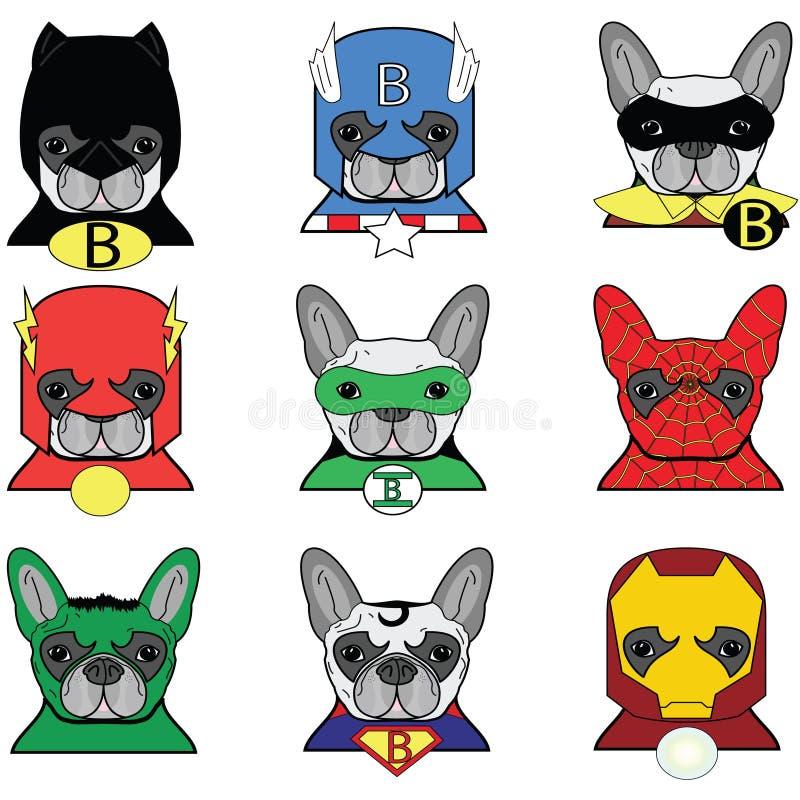 Hund Superheros för fransk bulldogg vektor illustrationer