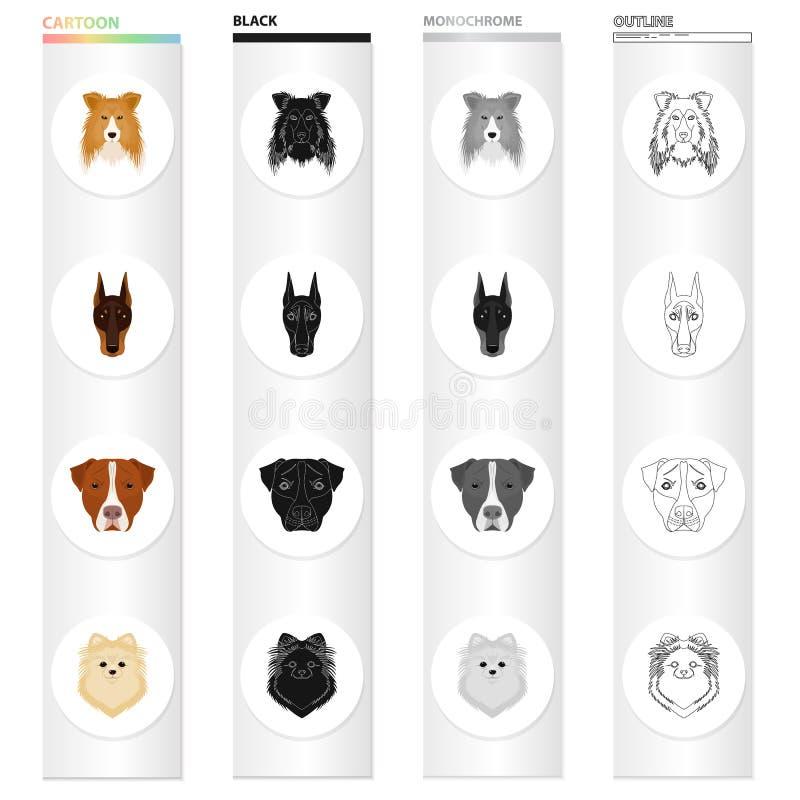 Hund, Tier, Haus und andere Netzikone in der Karikaturart Dobermann, Boxer, pomeranian Ikonen in der Satzsammlung vektor abbildung