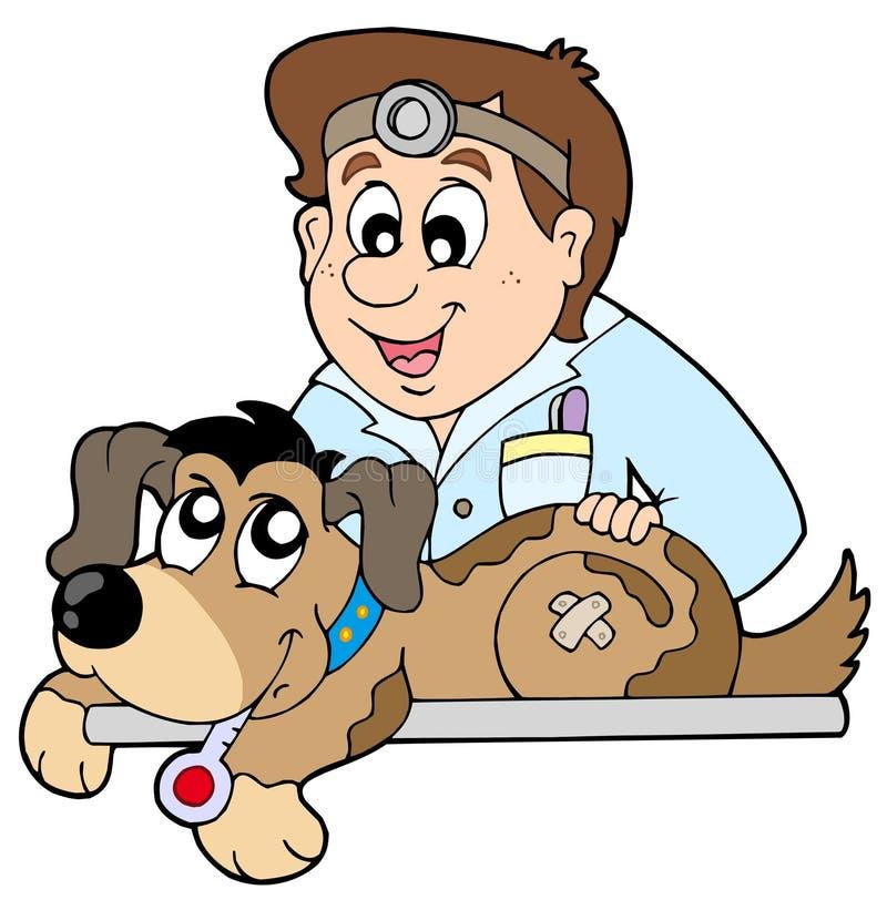 Hund am Tierarzt stock abbildung
