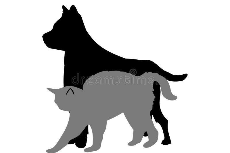Hund und Katze stock abbildung