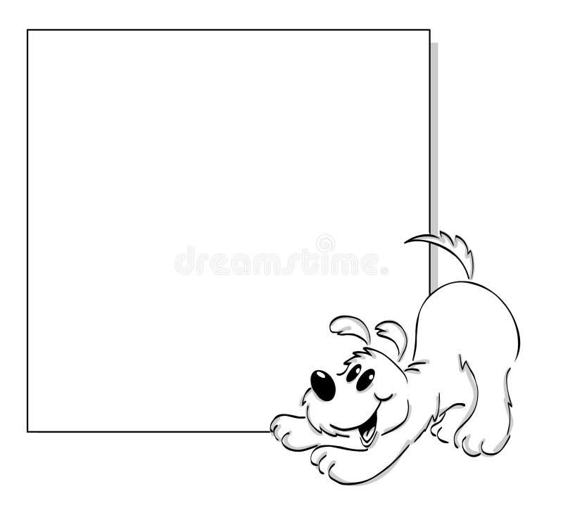 Hund und Plakat stock abbildung