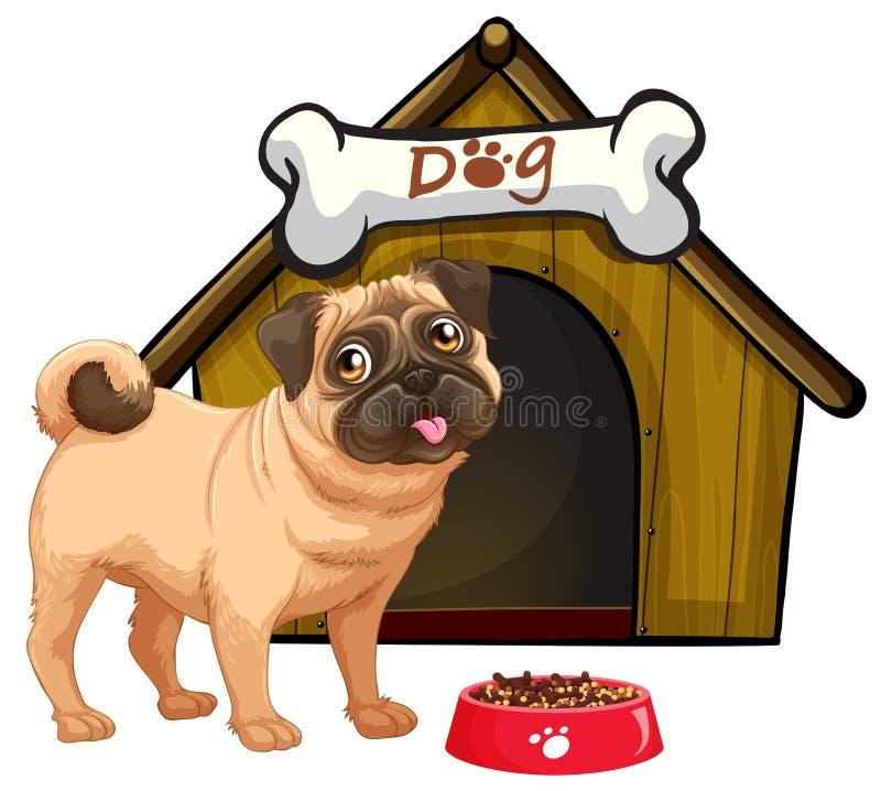 Hund und sein Haus lizenzfreie abbildung