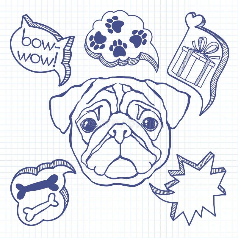 Hund und seine Träume Humorvolle Abbildung Gekritzelskizze vektor abbildung