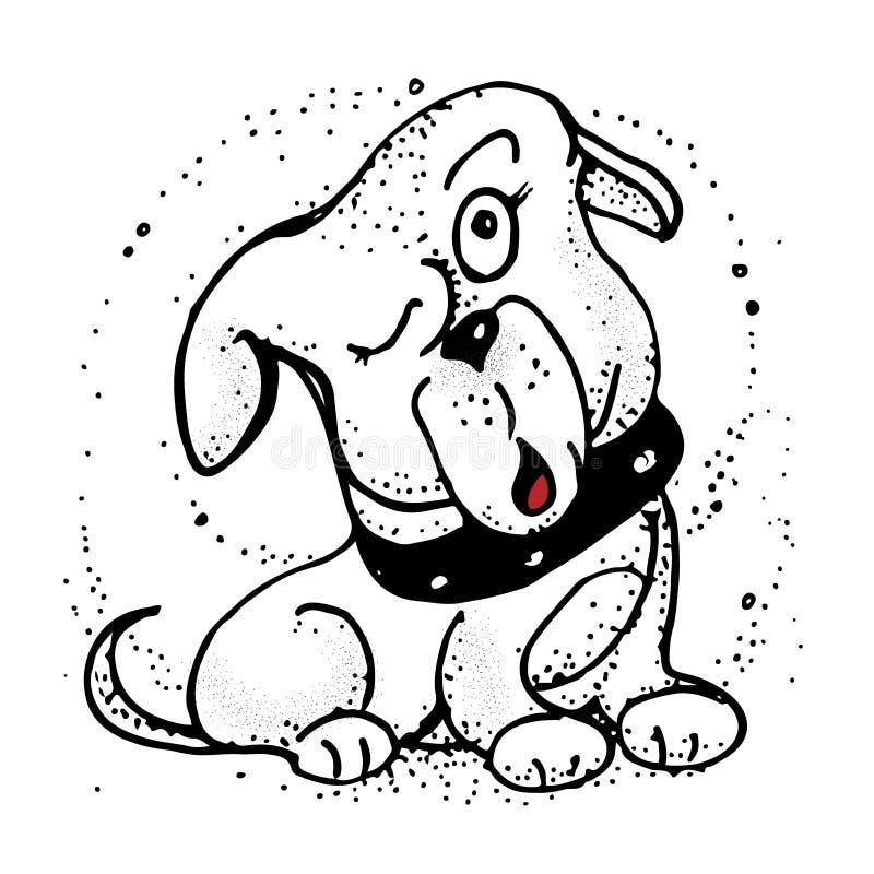 Hund veranschaulicht in einer gekritzelten Art Emoji-Karikatur-Illustration lizenzfreie abbildung