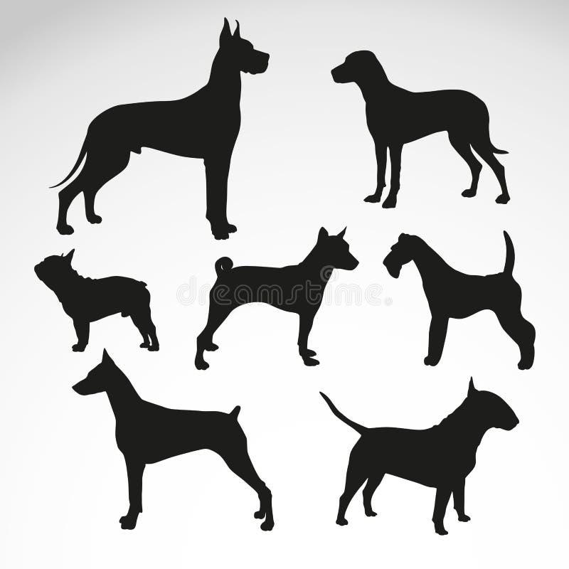 Hund-Zucht-Schattenbild-Vektor-Design lizenzfreie abbildung
