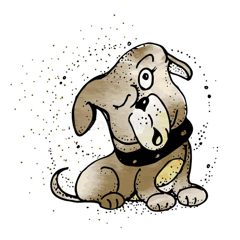 Hund, zum an etwas zu denken Hund im Artgekritzel vektor abbildung