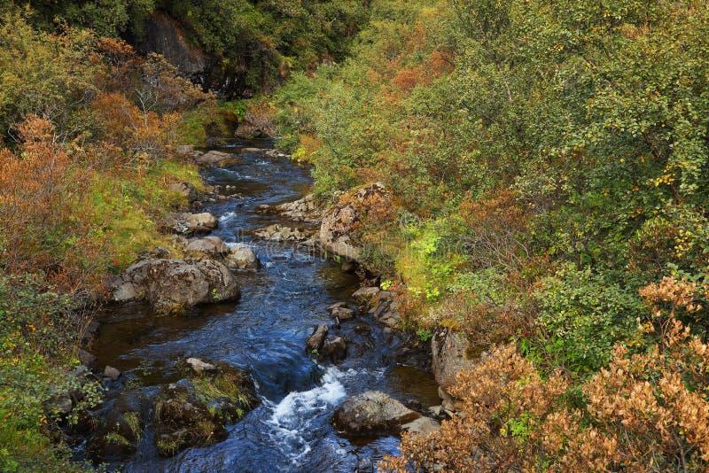Hundafoss Waterfall in Skaftafell Natural Park royalty free stock photography