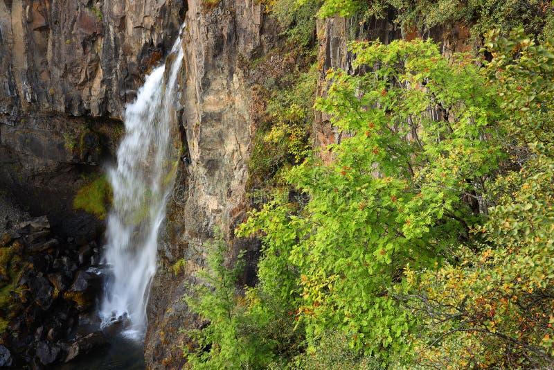 Hundafoss Waterfall in Skaftafell Natural Park stock photography
