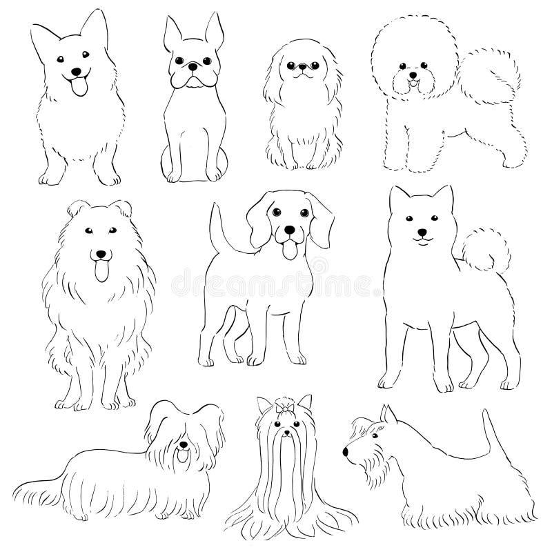 hundar grupperar litet stock illustrationer