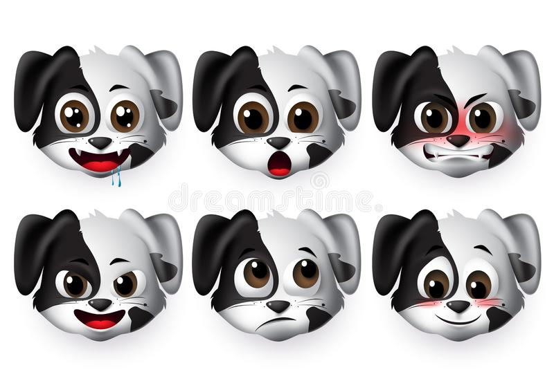 Hundar vektoruppsättning för uttrycksvektor Puppy dog emojis med arga och blyga uttryck för isolerade tecken och symboler vektor illustrationer