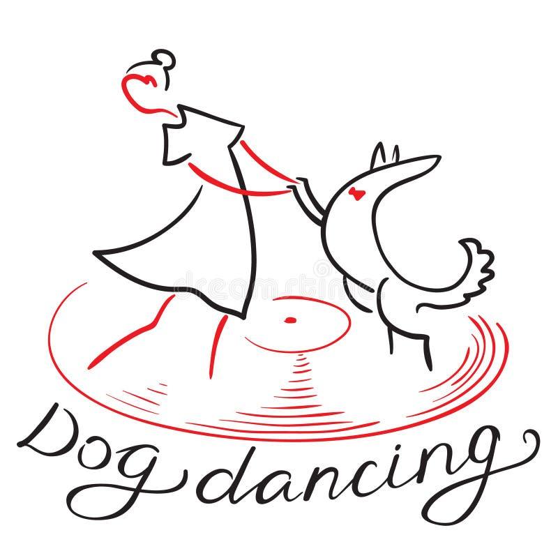 Hunddanssymbol Flicka med hunddans på vynilrekord Heelwork royaltyfri illustrationer