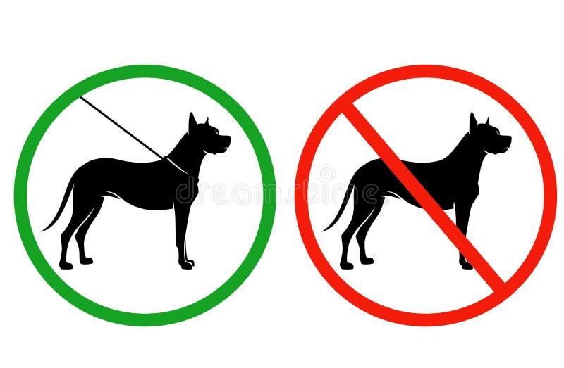 Hunde auf Leine erlaubtem Vektor Signagesatz lizenzfreie abbildung