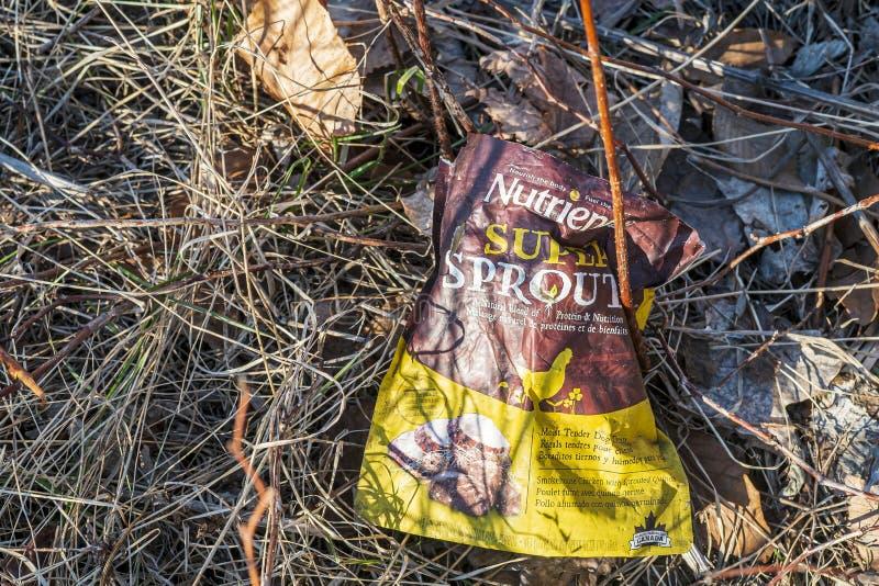 Hunde behandeln Plastiktüten, die den Wald verschmutzen stockbilder