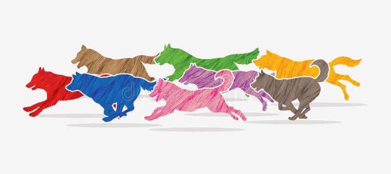 8 Hunde, die Grafik laufen lassen vektor abbildung