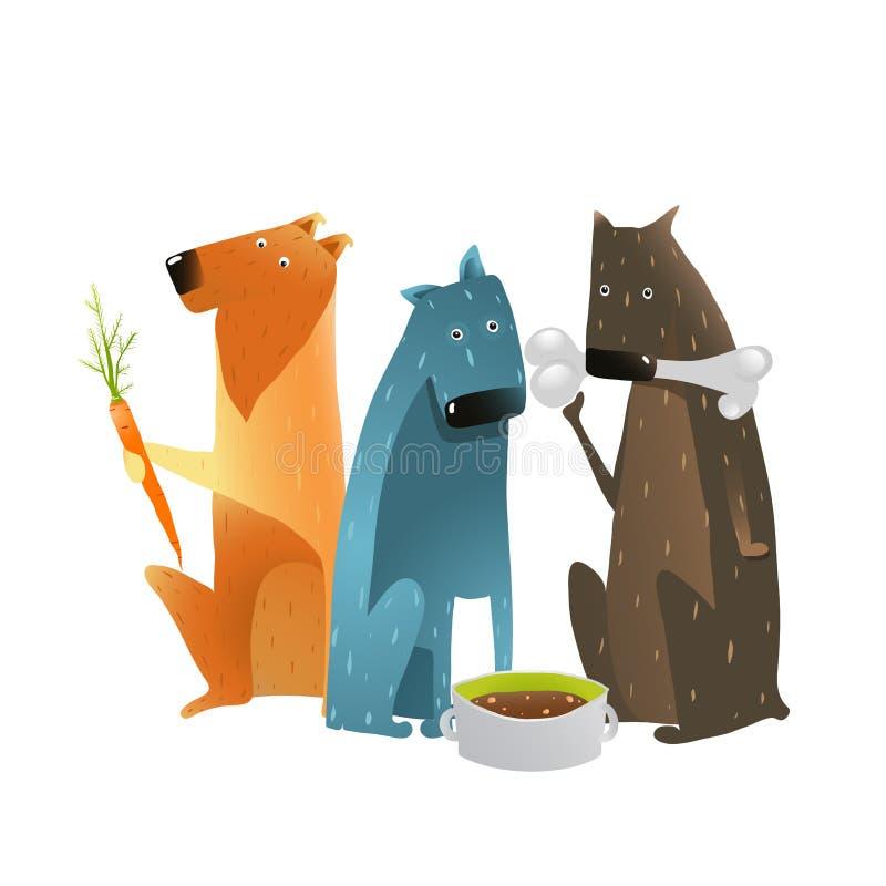 Hunde, die verschiedene Arten des Lebensmittels essen vektor abbildung
