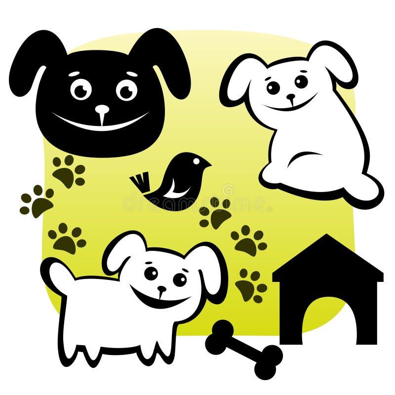 Hunde eingestellt stock abbildung
