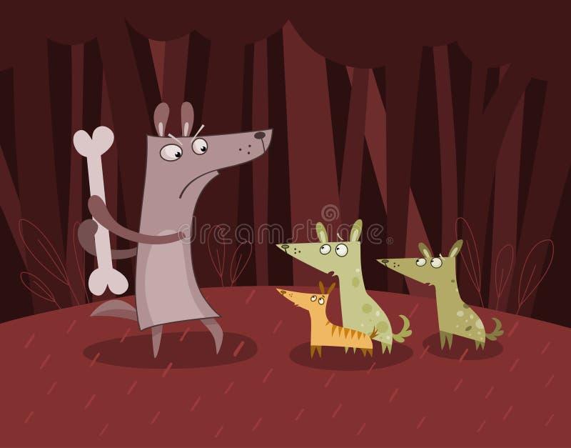 Hunde im Wald stock abbildung