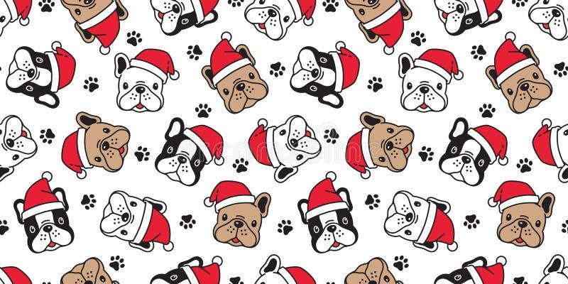 Hunde nahtlose Muster Weihnachtsvektor Französisch Bulldog Pfosten Santa Claus, dass Fußabdruck Tuch isolierte Cartoon wiederhole stock abbildung