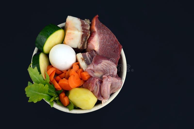 Hunde- oder Katzenschüssel gefüllt mit einer Mischung biologisch geeigneter Rohnahrung, die Fleisch, Eier und Gemüse enthält stockbild