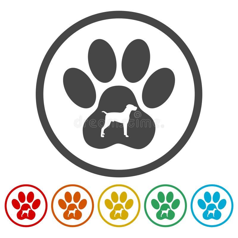 Hunde-Paw Print-Ikone stock abbildung