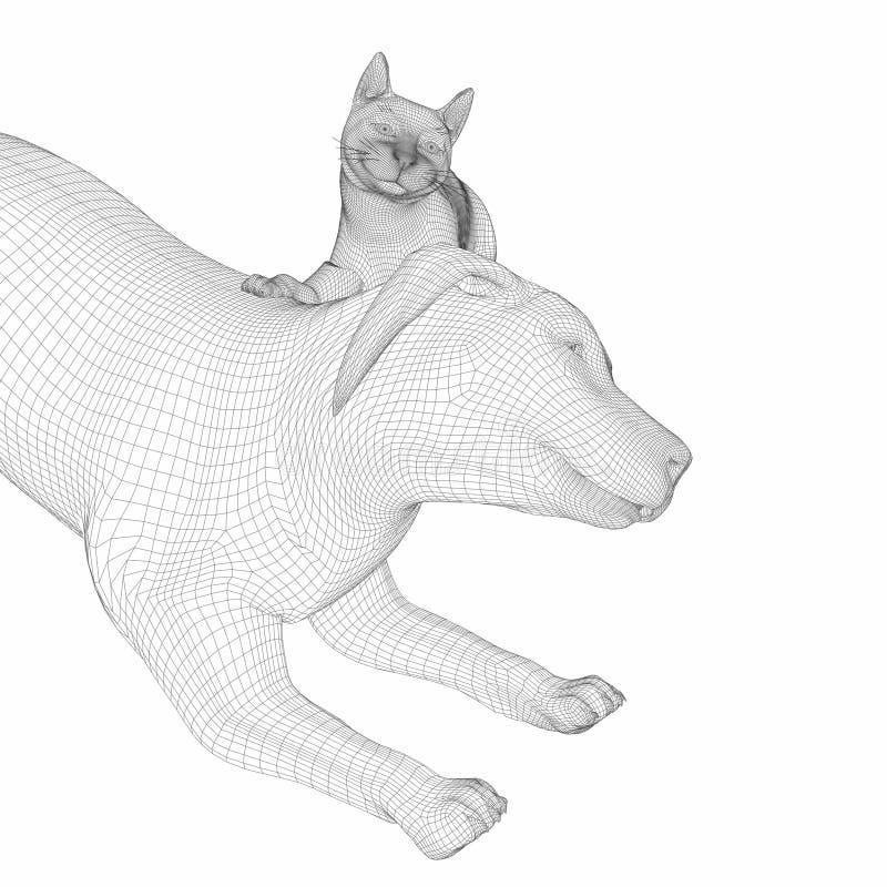 Hunde- und der Katze3d Linie Kunst stockbilder