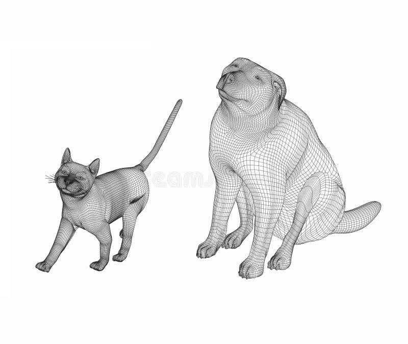 Hunde- und der Katze3d Linie Kunst lizenzfreies stockfoto
