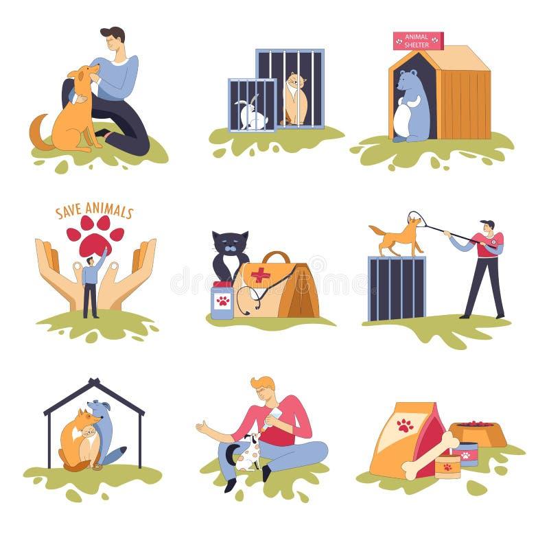 Hunde- und katzenartiges Schutzhunde- und -katzenhaus stock abbildung