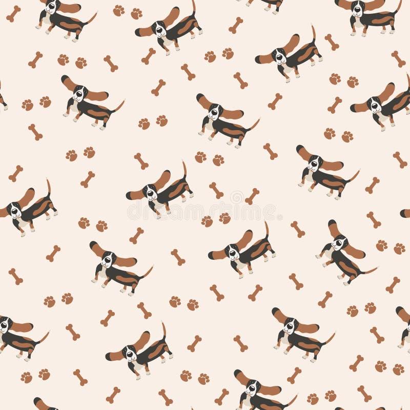Hunde Vector nahtloses Muster Hund Basset Hound, Knochen, Pfotenabdruck lizenzfreie abbildung