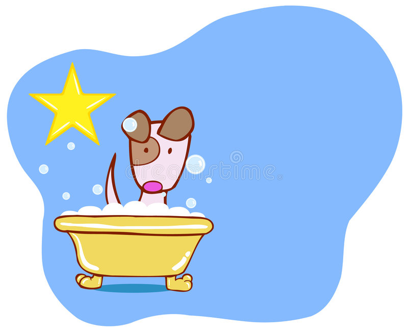 Hundebad-Stern - Welpe lizenzfreie abbildung