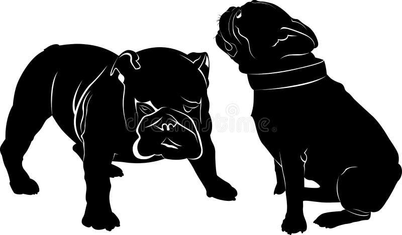 Hundebulldogge Die Hunderassebulldogge Verfolgen Sie den schwarzen Schattenbildvektor der Bulldogge, der auf weißem Hintergrund l stock abbildung