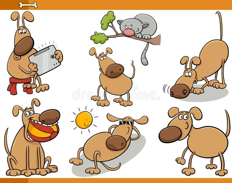 Hundecharakter-Karikatursatz lizenzfreie abbildung
