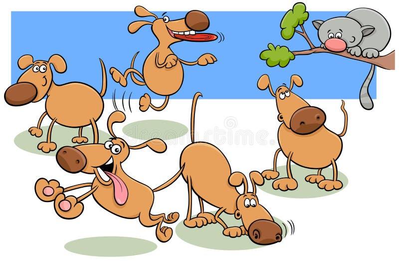 Hundegruppe in der Parkkarikaturillustration stock abbildung