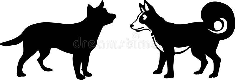 Hundeikone auf wei?em Hintergrund lizenzfreie abbildung