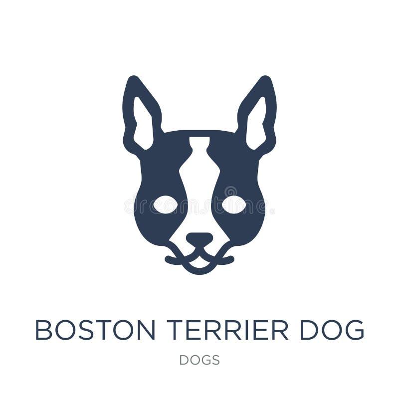 Hundeikone Bostons Terrier Modischer flacher Hund Vektor Bostons Terrier I lizenzfreie abbildung