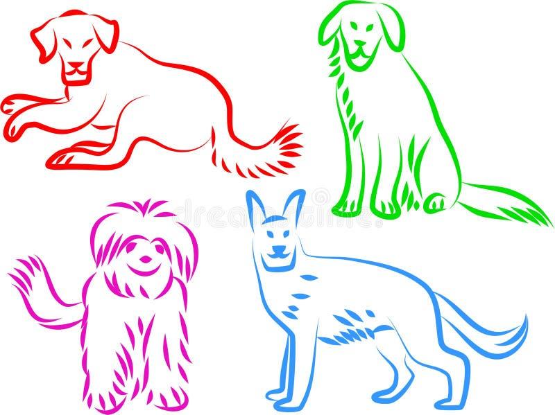 Hundeikonen lizenzfreie abbildung