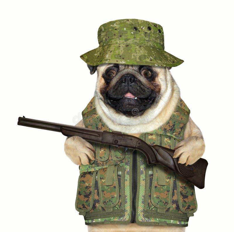 Hundejäger mit einem Gewehr lizenzfreie stockfotos