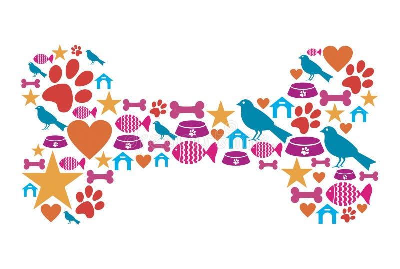 Hundeknochenform mit Haustierikonenset lizenzfreie abbildung
