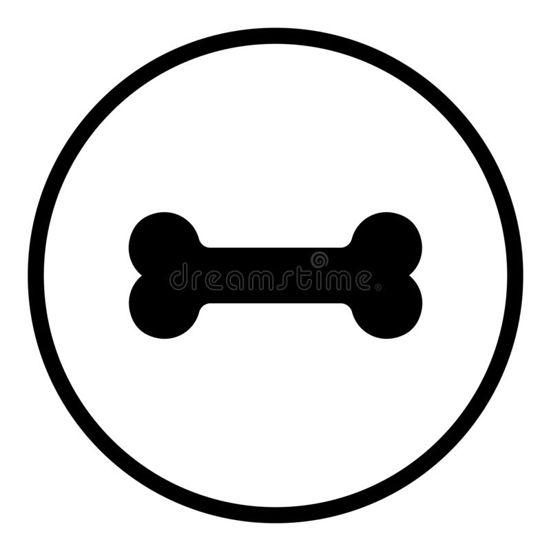 Hundeknochenikone Nahrung- für Haustieresymbol Flach unterzeichnet einkreist herein Runde Knöpfe für Netz vektor abbildung