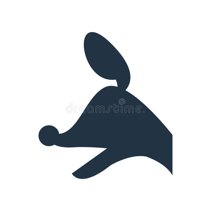Hundekopf-Ikonenvektor lokalisiert auf weißem Hintergrund, Hundezugzielanzeiger stock abbildung