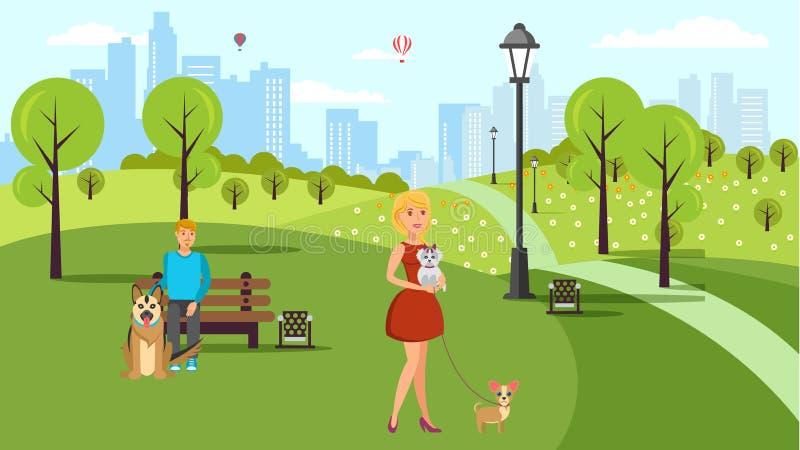 Hundeliebhaber gehen Vektor-Farbflache Illustration lizenzfreie abbildung