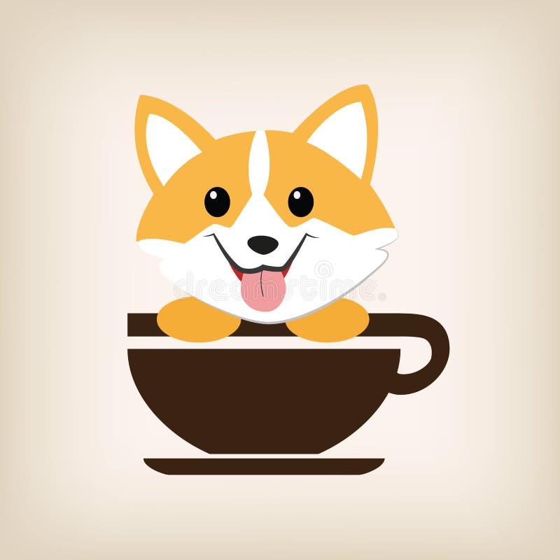 Hundelogo-Kaffeevektor lizenzfreie abbildung