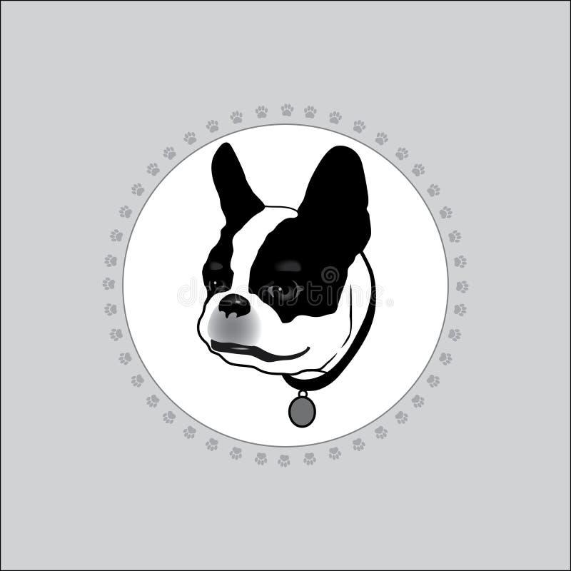 Hunden är vit med svarta fläckar vektor illustrationer
