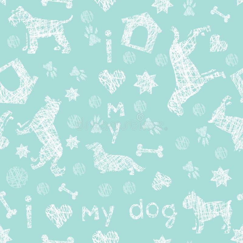 Hunden föder upp den nya vit sömlösa modellen för blått och vektor illustrationer