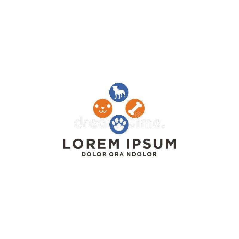 Hunden för hundhusdjurlogoen daltar logo royaltyfri illustrationer