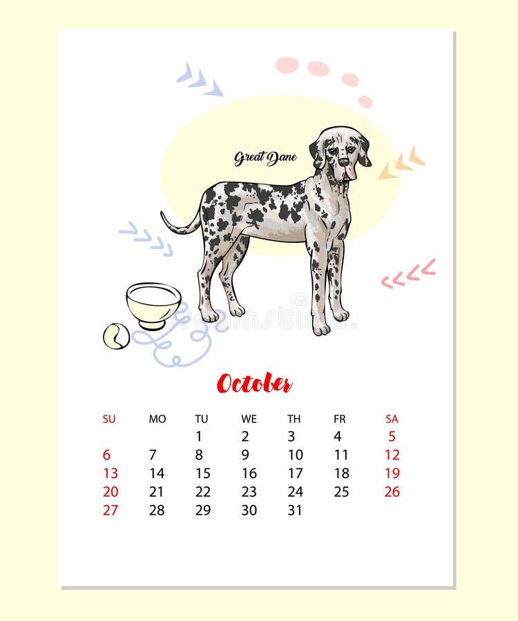 Hunden för kalender 2019 skissar stock illustrationer