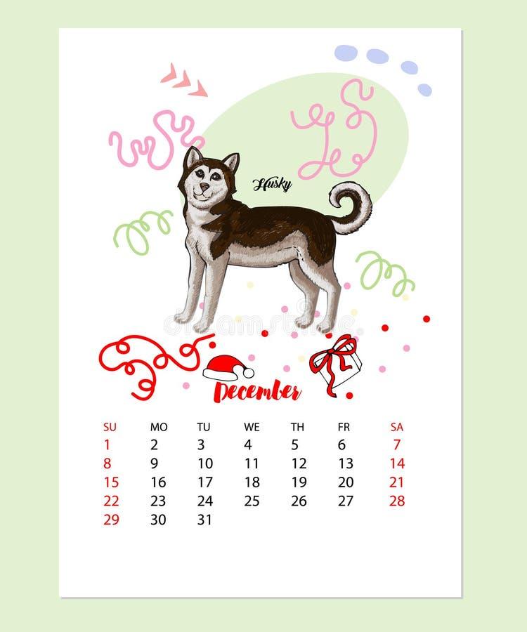 Hunden för kalender 2019 skissar vektor illustrationer