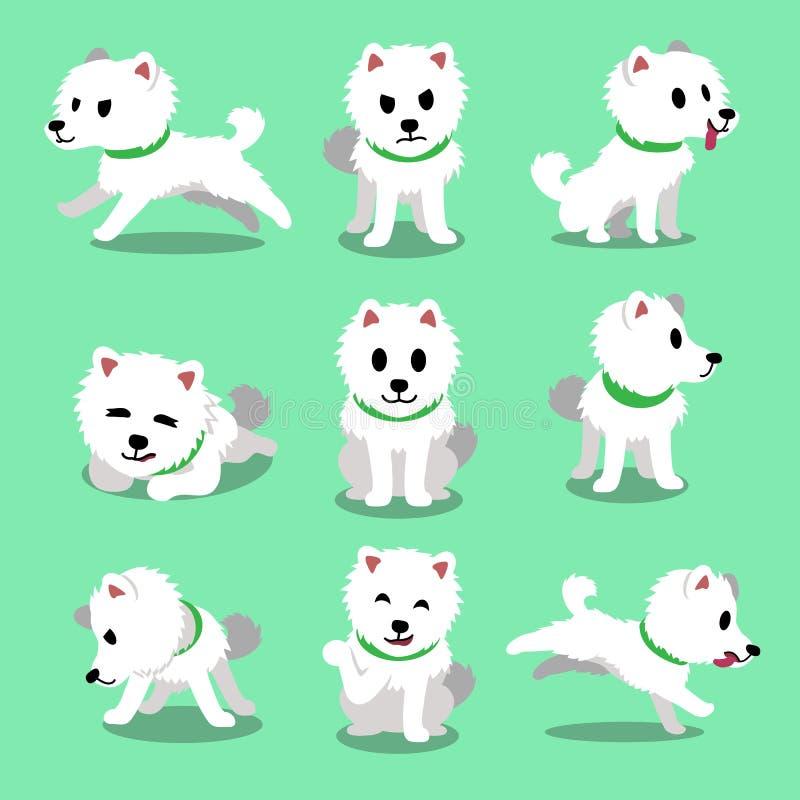 Hunden för spitzen för tecknad filmteckenet poserar den japanska stock illustrationer