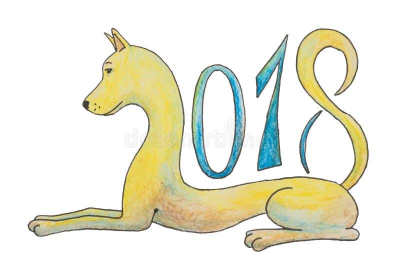 Hunden ligger och figurerar 2018 som ett symbol för det nya året arkivbild